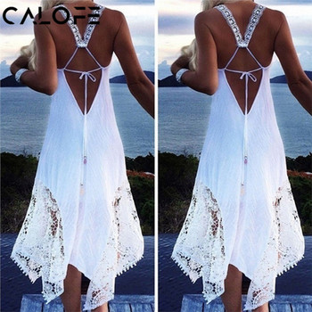 CALOFE Beach Swimwears Swim Dress Tunic 2018 Sexy Women Long Beach Dress 2018 White Beach Tunic Swimsuit Bikini Lace Cover Up
