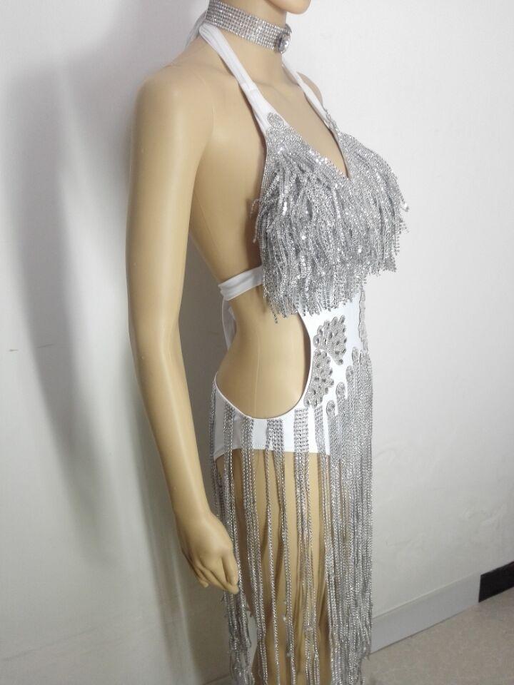 Chanteur Femelle Nu Dos Modèle Robe Pièce Costumes D'une Bling Argenté Discothèque Sexy Catwalk Seule Strass Danseur Robes Cristaux pgOxq4w4