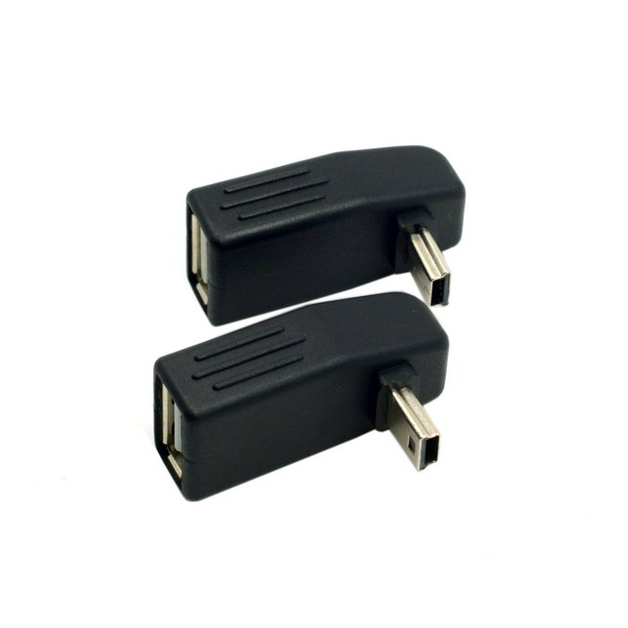 2pcs 90 Degree Up & Down Right Angled Mini USB Type B to USB Female OTG Adapter for Tablet Adaptor right angle 90 degree mini usb male to usb female otg adapter black 2 pcs