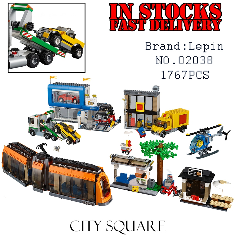 NEW Lepin 02038 1767Pcs Geuine City Series The City Square Set Educational Building Blocks Bricks Toys for childrenGifts dhl lepin city series 02020 police station 02038 city square educational building blocks bricks model toys 60141 60097
