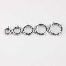 6pcs Mix Sizes Round Floating Locket Crystal Stainless Steel Twist Screw Memory Pendant tiffan jewelry