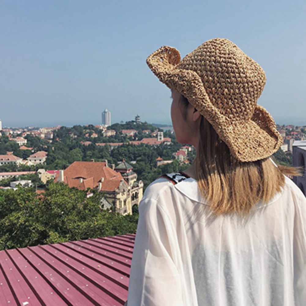Fashion Korea Style Summer Womens Girls  Collapsible Beach Hat Vacation Sun Bowknot Visor Hat Headwear Bucket Hat #279337 vacation