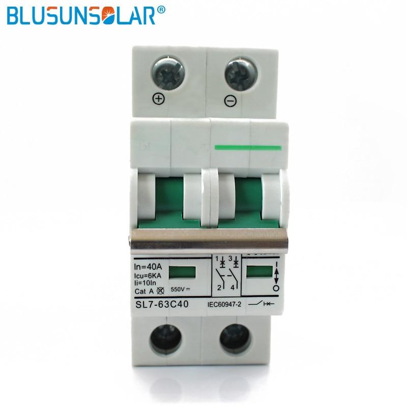 10pcs 2 Pole 25A 32A 40A 50A 63A DC550V MCB DC Circuit Breaker Solar energy photovoltaic
