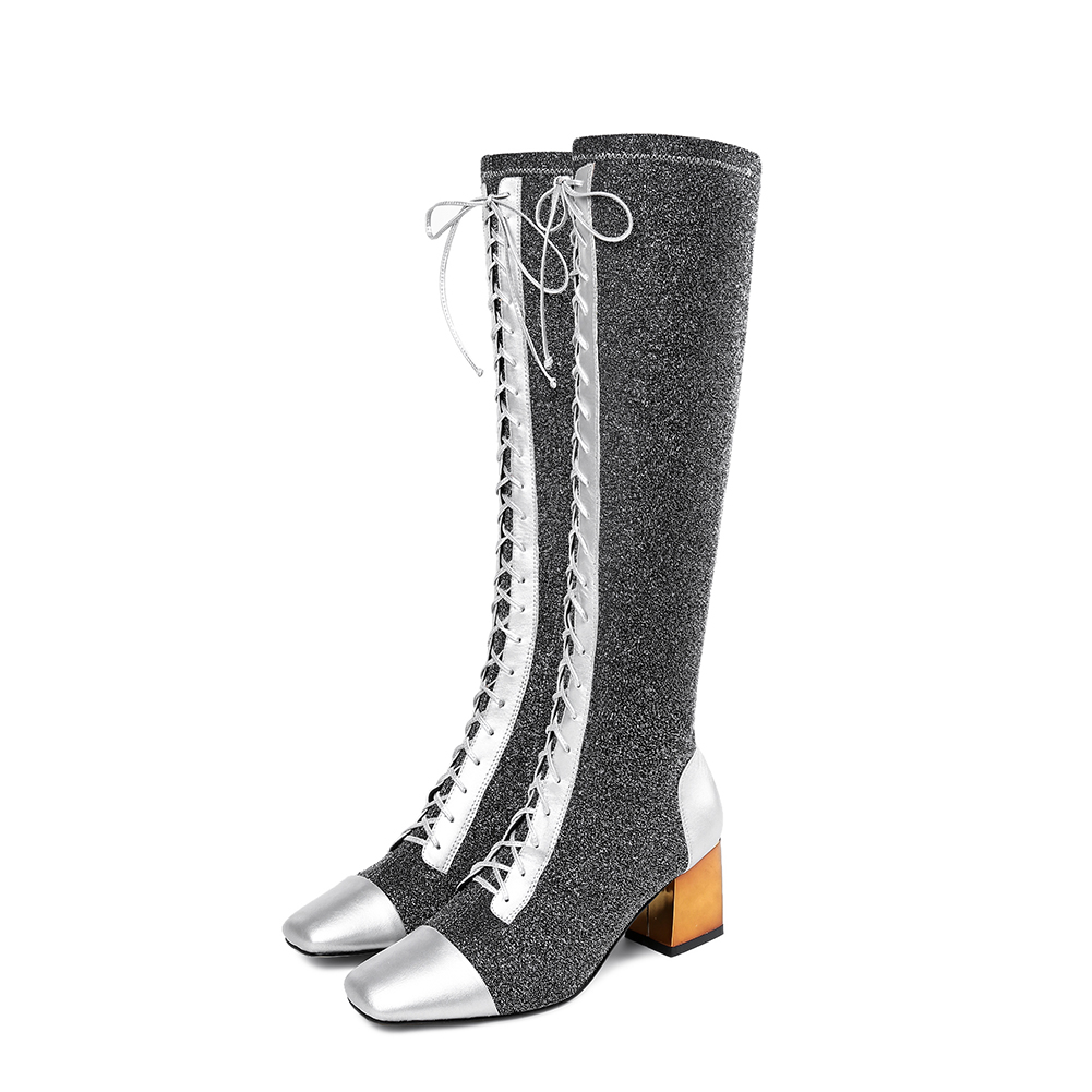 Nave Botas Los De Marca Mujeres Negro Zapatos plata Moda Las Cordones Karinluna Nueva Genuino Mujer Cuero SYgpqqwE