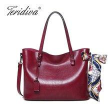 Teridiva Neue Vintage Tragetaschen für frauen Handtasche Schulter mit Kurzen Griff Einkaufstasche Damen Leder Geldbörse und Handtaschen