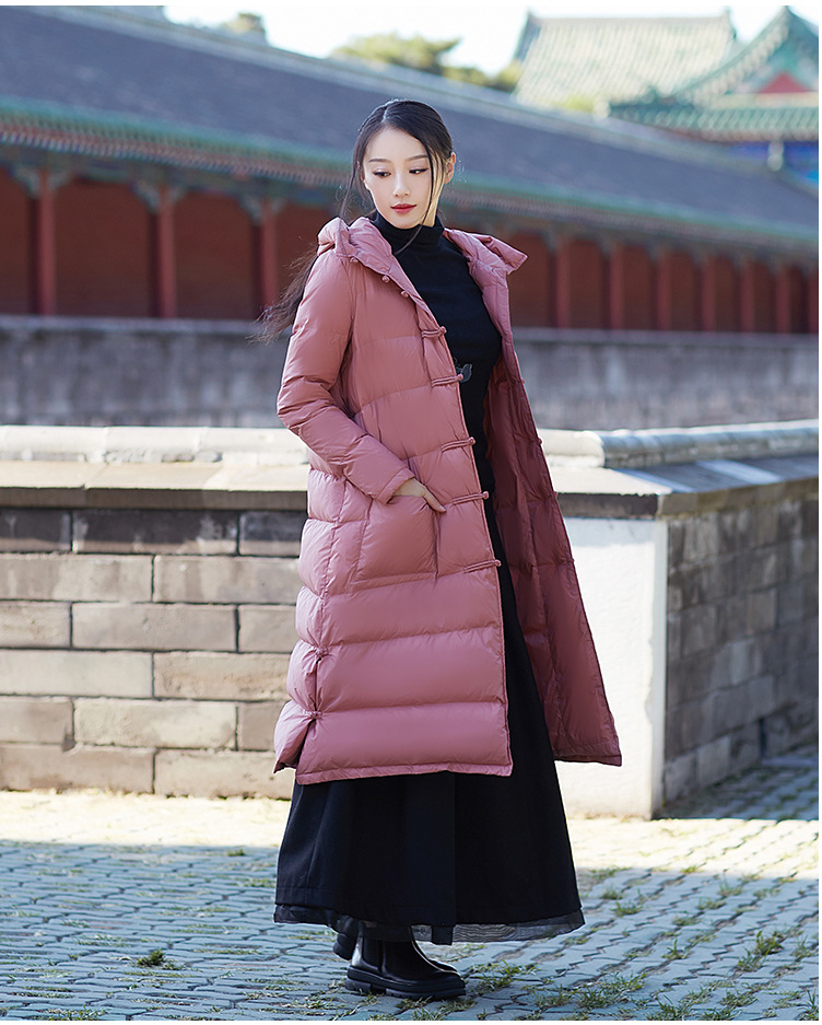 Maternity winter coat China Style plate down jacket women 2017 new knee-long plus hooded thick loose winter coat women winter coat leisure big yards hooded fur collar jacket thick warm cotton parkas new style female students overcoat ok238