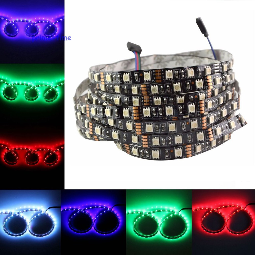 Black PCB 5050 LED strip, 12V fleksibel cahaya 60LED / m, SMD 300LED / 5m Non-kalis air, Putih, Putih Hangat, RGB, Hiasan Rumah