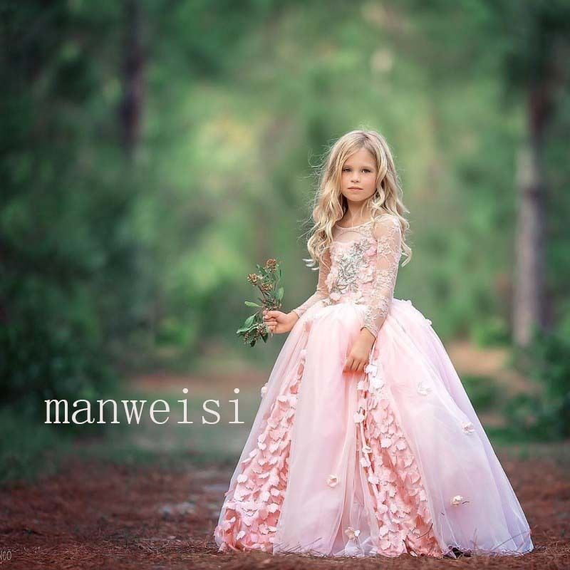 Pink Lace   Flower     Girl     Dress   Sleeveless Princess Cute Party Pageant Ball Gowns
