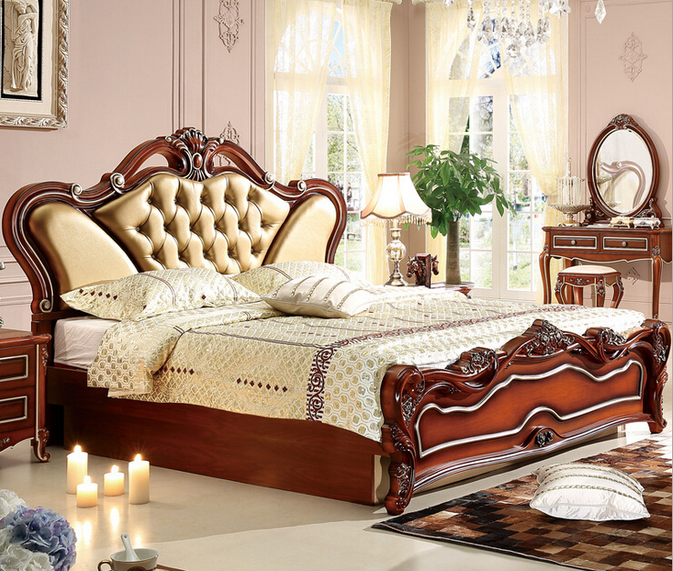 Beautiful Furniture Stores: Top Genuine Leather King Size Bed 0409 8890-in Bedroom