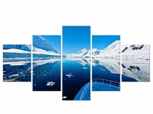 5 Pieces Mountain Lake On A Winter Rock Ice Beach Snow Panel Paintings Modern Giclee Artwork Oil The Picture