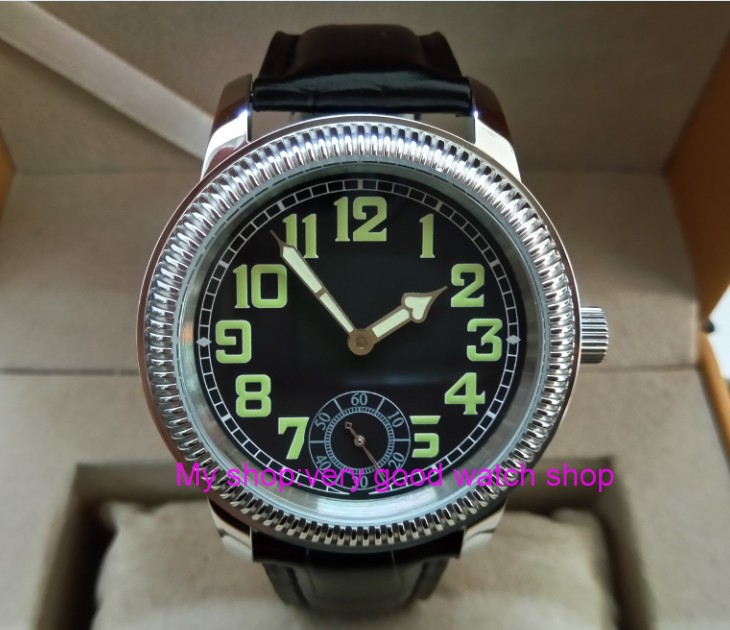 44mm PARNIS Asian ST3621/6498 Mechanical Hand Wind movement Mechanical watches Luminous black dial men's watches YB06 аккумулятор yoobao yb 6014 10400mah green