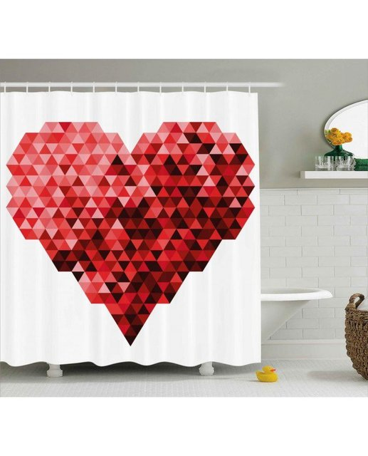 Burgundy Shower Curtain Future Modern Heart Print For Bathroom Waterproof  And Fabric Romantic Shower