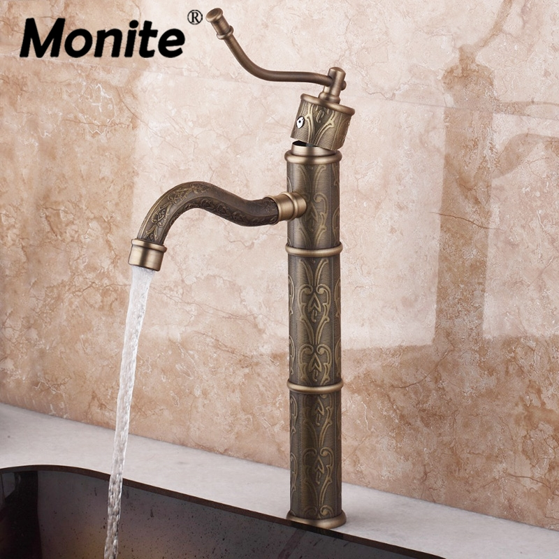 Monite Tall Bathroom Faucet Antique Brass Bathroom Vessel Sink Mixer Tap Single Handle Deck Mounted Basin Sink Faucet kitchen 97152 retro design bathroom vessel sink mixer faucet single handle deck mounted basin faucet antique brass torneira