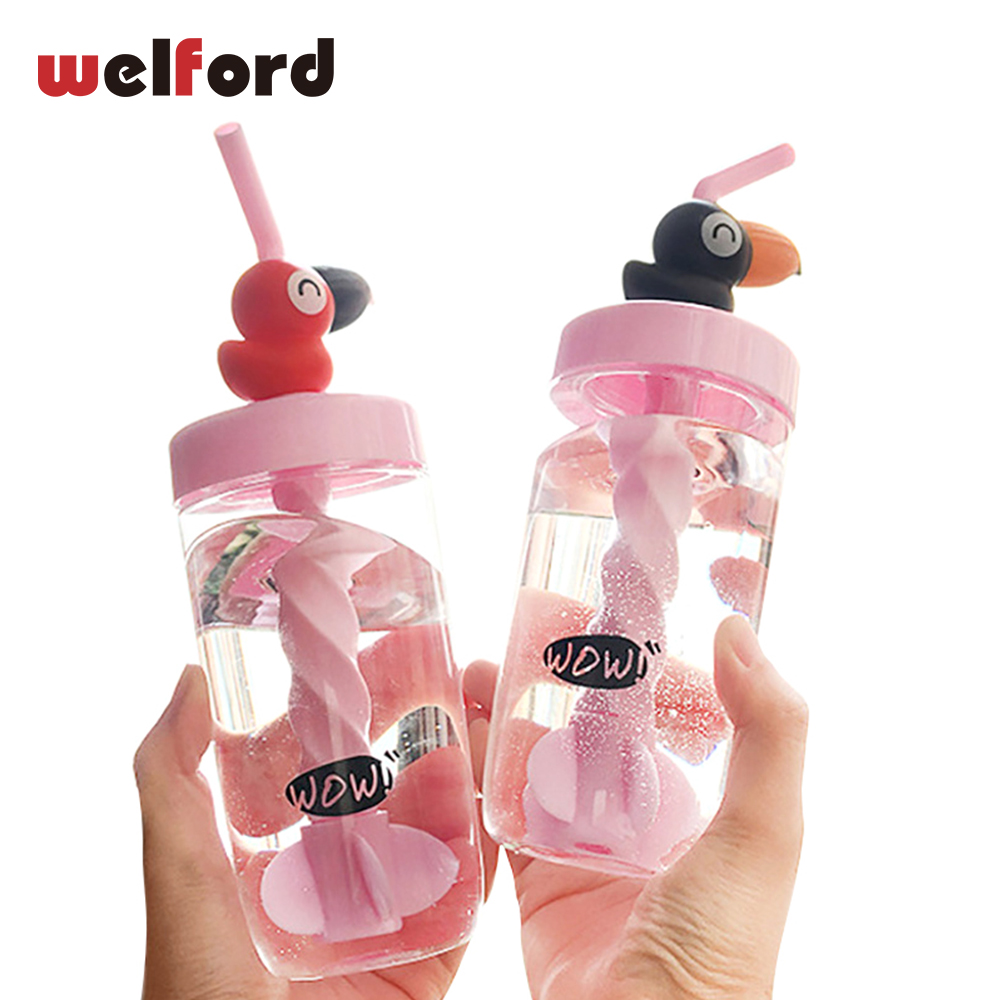 Spring New Creative Crow Straw Cute Water Bottle Mixing Milkshake Protein Powder Fitness Readily Student Bottle for Gi