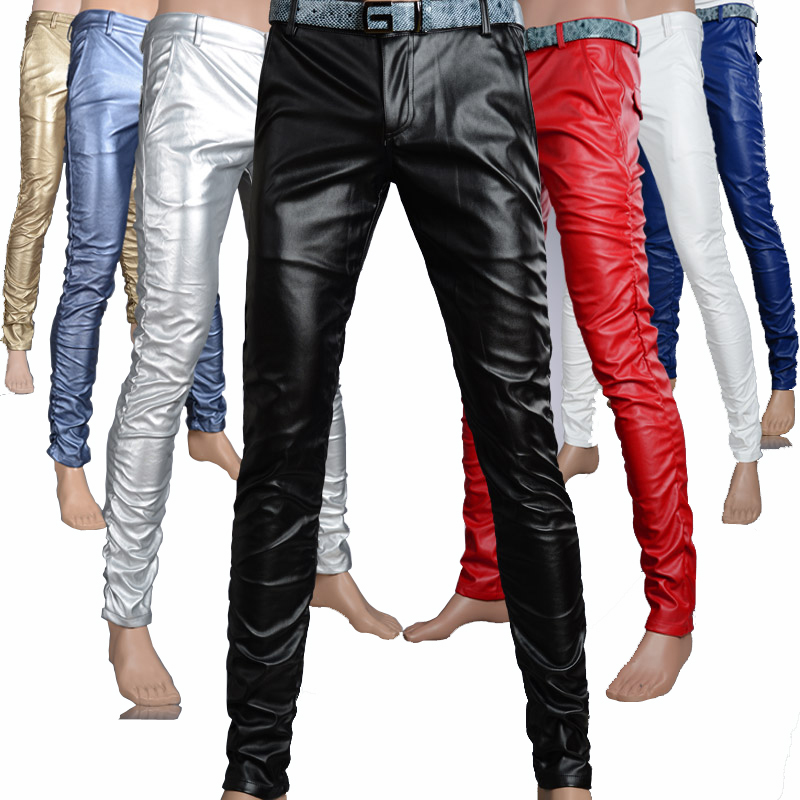 Male fashion tight PU leather pants personality Men s slim casual trousers Men skinny joggers sweatpants