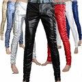 Moda masculina apretado PU pantalones de cuero de la personalidad de Los Hombres delgados pantalones casuales Hombres flacos joggers Pantalones lápiz, 8 colores