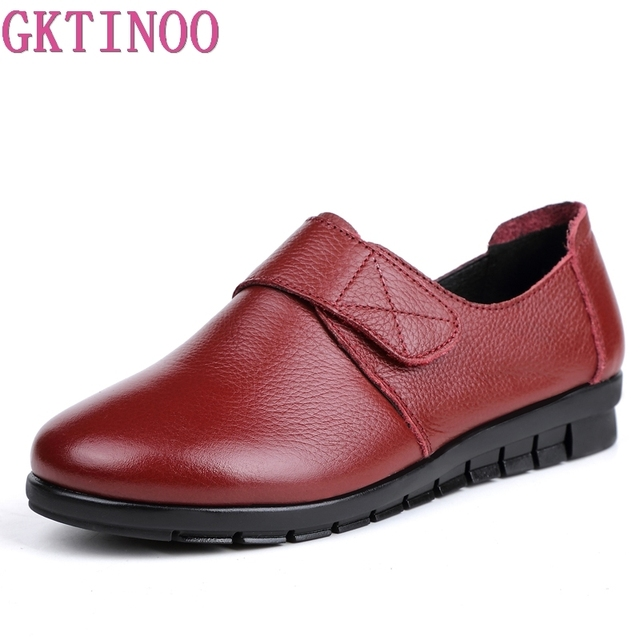 GKTINOO Women Flat Shoes Lace Up Round Toe Genuine Leather Short Plush Winter Warm Casual Shoes Woman Flats Loafers Plus Size 43