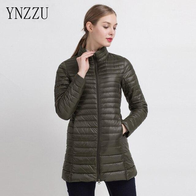 YNZZU Manteau Femme Cuello de Pie Delgado Medio Largo Pato Blanco mujeres  Ultraligero Por la chaqueta e59c4796a110