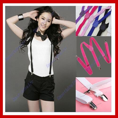 Unisex Clipon Braces Elastic Yback Suspenders 7 color for you choice