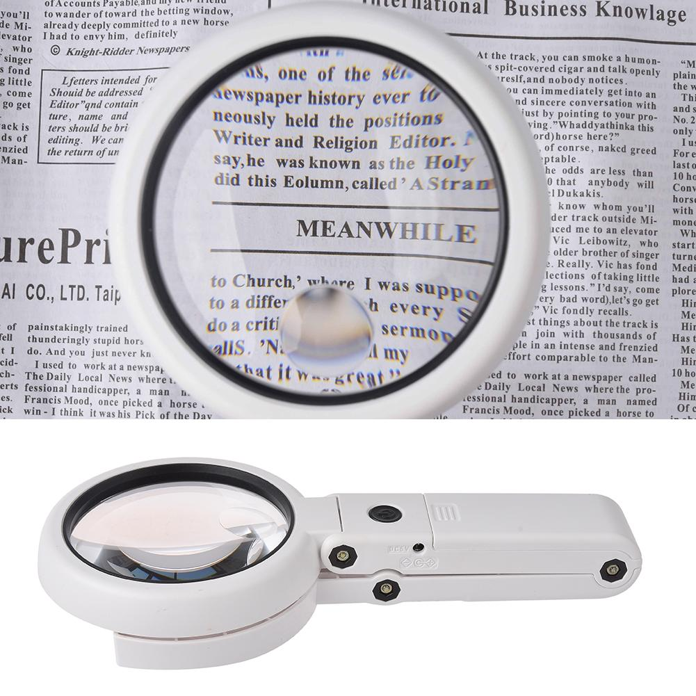 Handheld Foldable 8 LED Light Magnifier Portable Folding 5X 11X Magnifying Glass Table Desk-type Lamp Loupe Lens For Newspaper