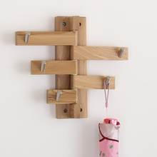 Nordic creative wall hook coat rack modern minimalist oak wall hanging rack solid wood bag WF530407