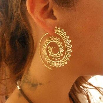 2019 Ethnic Jewelry Swirl Hoop Earring Gold Color Earrings  1