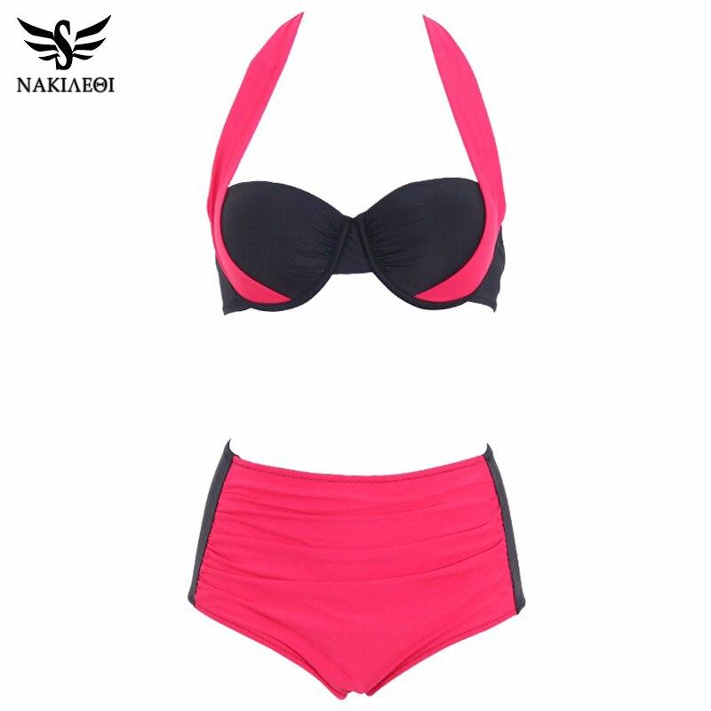 NAKIAEOI 2019 New Sexy Bikinis Women Swimsuit High Waisted Bathing Suits Swim Halter Push Up Bikini Set Plus Size Swimwear 4XL