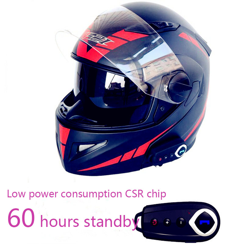 2018 Anti-fog double lens motorcycle helmets Motorcycle Bluetooth helmet Stereo sound comes with FM Open face helmet