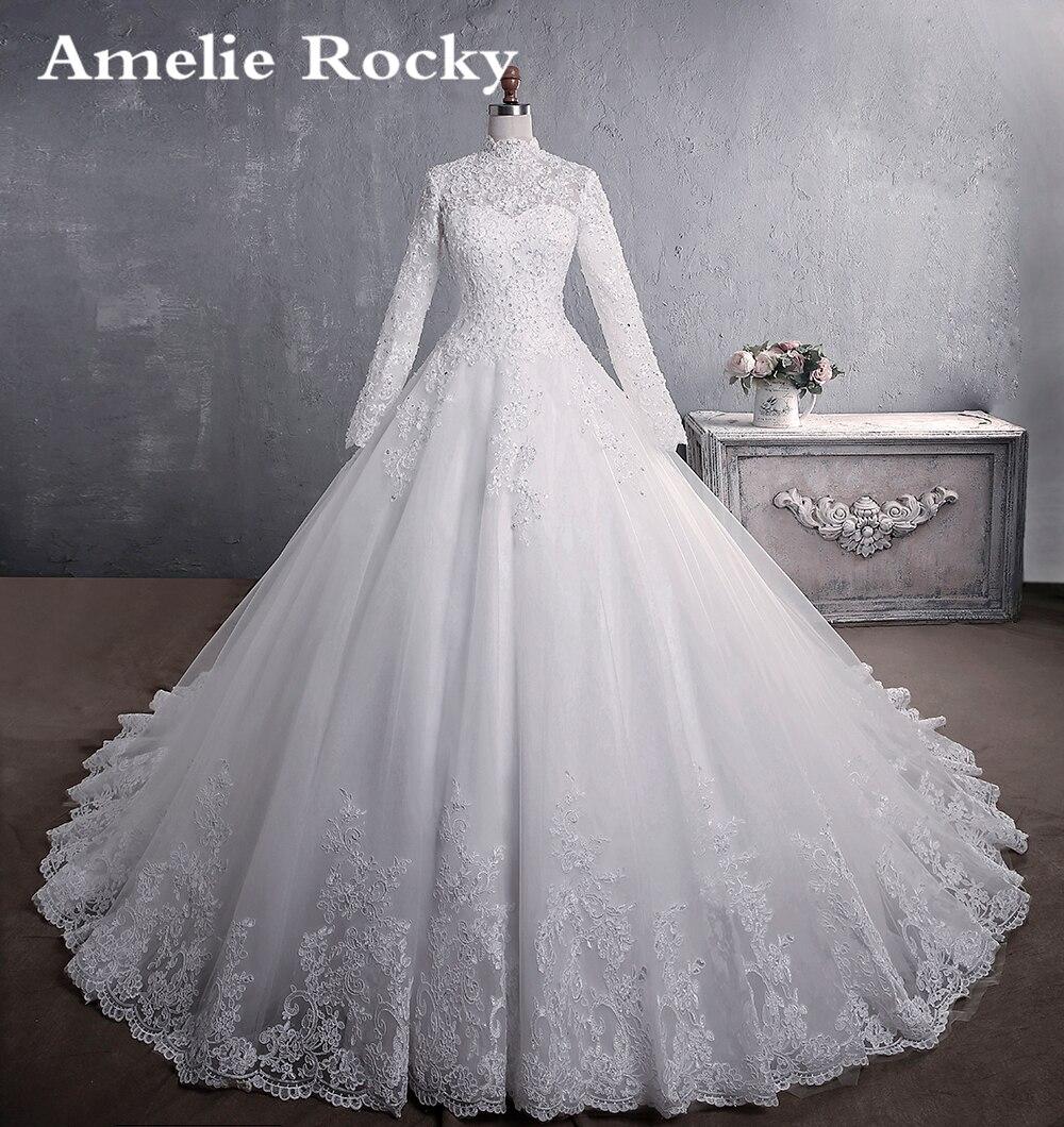 Vestido De Noiva 2020 New Elegant Bride Dress Beading Muslim Wedding Dress Long Vintage Hijab Wedding Gown Long Train Mariage