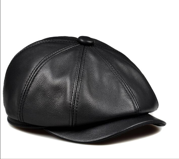 chapéus cor preta moda lazer sombrero chapéu casual de couro dos homens