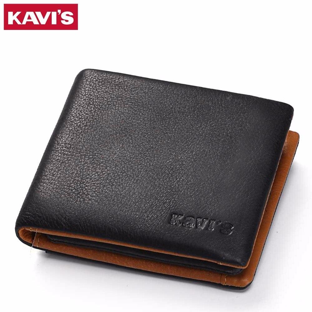 KAVIS Genuine Leather Wallet Men Coin Purse Male Cuzdan Small Walet Portomonee PORTFOLIO Slim Mini Perse Vallet Money Bag And