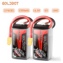 GOLDBAT Lipo Батарея 1300 mAh 4S 100C 14,8 V Softcase пакет с XT60 Разъем для RC автомобилей Грузовик Heli самолет БПЛА Drone FPV Racing 2pac