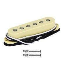 FLEOR Винтаж Alnico 5 пикап Strat одна катушка гитары Пикап желтый гитары Части, шеи/середины/мост Пикап на выбор