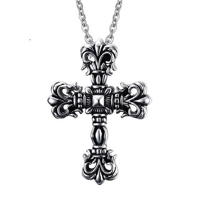 Domineering Titanium Steel Necklace Men's Hipster Pendant Stainless Steel Trend Personality Retro Geometric Type Cross Chain