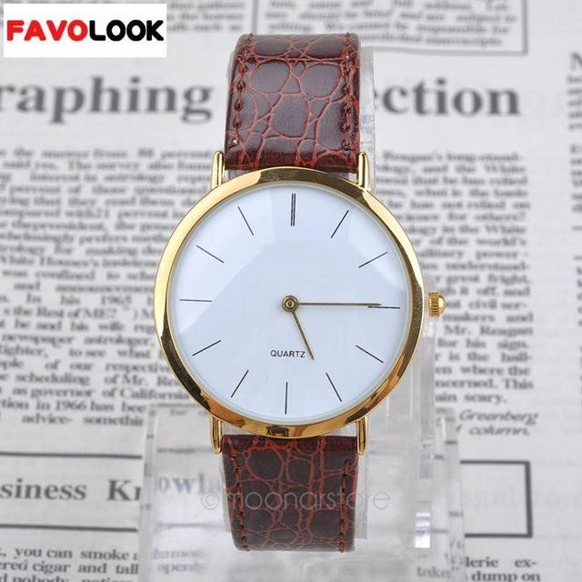 0a31d80db Hot New Arrival Mens Boys Classic Faux Leather Band Gold Frame watches  Round Dial Analog Quartz Wrist watch