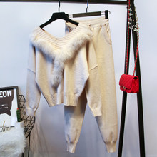 Amolapha Women V Neck Luxury Fur Cashmere Blends Knitting Jumper Tops+Pants Sets Knitted Sweaters Trousers 2 Pieces Suits(China)
