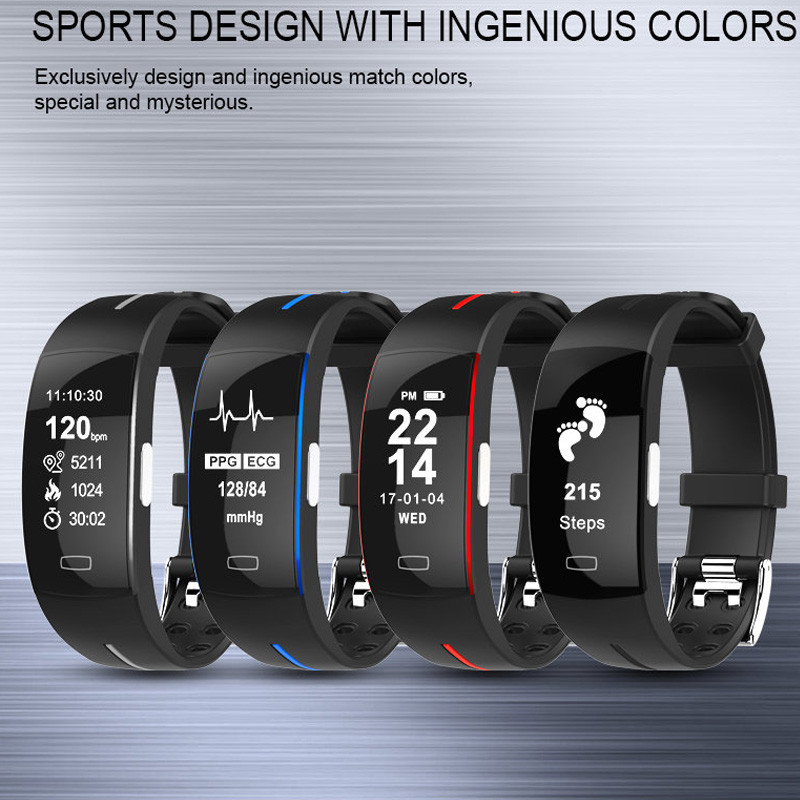 Bracelet intelligent Ip67 Ecg Ppg moniteur de fréquence cardiaque de pression artérielle traqueur de forme physique podomètre sport Bracelet intelligent pour Android Ios - 2