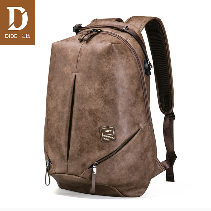 DIDE Brand High Quality USB charging 15 inch Backpacks For School Bag Male Mochila Leather Travel backpack Laptop Bag Men