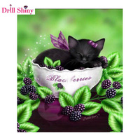 New Trendy Full Drill DIy 5D Diamond Mosaic Rhinestones Embroidery Animals Cat Diamond Painting Cloth Pictures