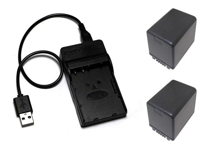 2X VW VBT380 VBT380 VBT190 Battery USB Charger for Panasonic HC V720 HC VX1 HC V730