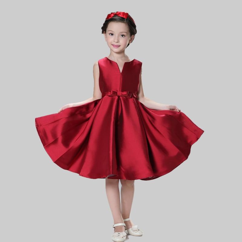 New children dress girl new year gift princess red dresses for Wedding dress for kid girl
