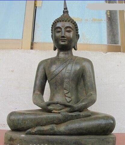 [Vieux métier] 18 Bouddhisme Temple Vintage vieux Bronze Thaïlande Amulettes Sakyamuni Bouddha Statue (A0314)