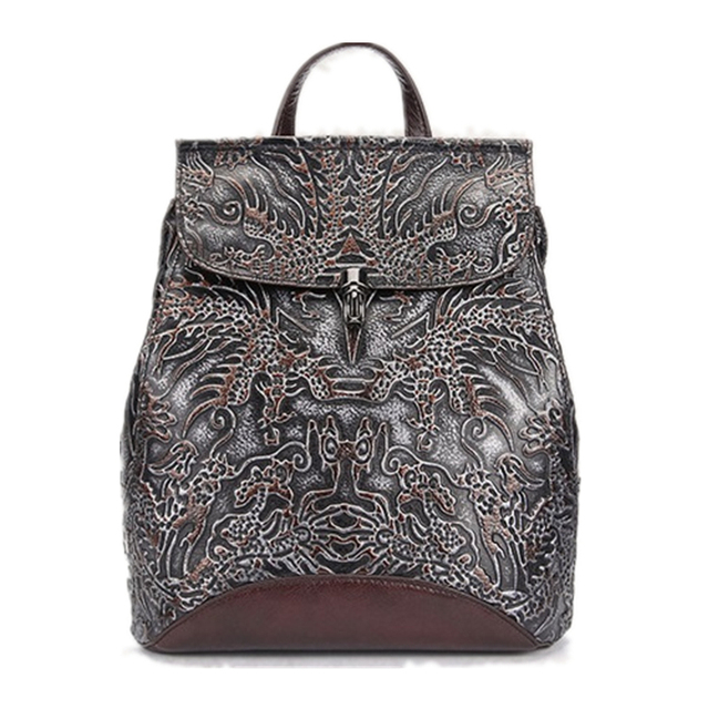 Famous Brand Women Floral Printing Backpack Genuine Leather Women Bags Vintage Design Men Small Laptop Backpacks mochila escolar