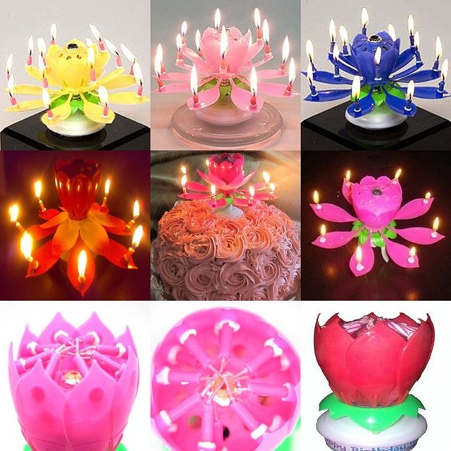 Amazing Romantic Musical Lotus Rotating Happy Birthday Candle