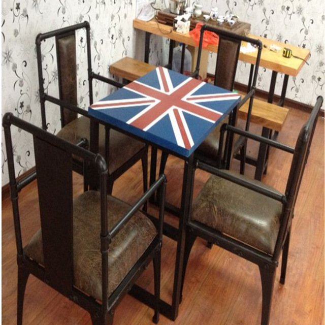 Retro Cafe Table And Chairs Outdoor Swivel Rocker Chair Wrought Iron Tables Suite Residential Furniture Wood Sets American Bar