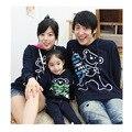 Juego ropa coreana otoño e invierno de la familia Papá Mamá Bebé sudaderas Con Capucha de Manga Larga camisetas