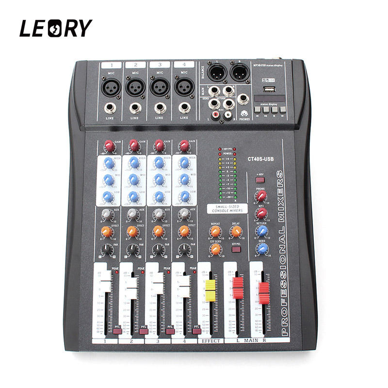 buy leory professional 4 channel digital sound audio dj mixer mixing microphone. Black Bedroom Furniture Sets. Home Design Ideas
