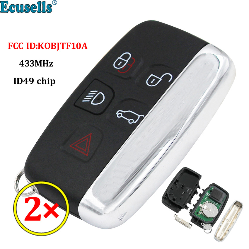 2pcs/lot 5 BUTTON SMART REMOTE KEY FOB 434Mhz ID49 chip for Land Rover Range Rover Sport Evoque Vogue LR4 2010-2016 with logo
