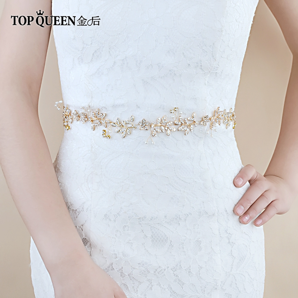 TOPQUEEN SH89 Bridal Belts With Pearls And Rhinestone Wedding Sash Belt For The Bride Wedding Accessories Belts On The Dress