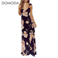 DOMODA Floral Printed Summer Dress Women Deep V Neck Sexy Party Loose Casual Dresses Long Backless